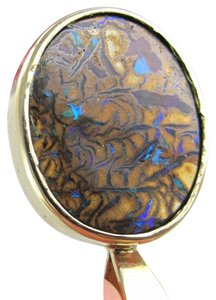 Other 14KT KARAT YELLOW GOLD PENDANT 3.2 G RARE STUNNING WOOD OPAL OPALIZED AUSTRALIA