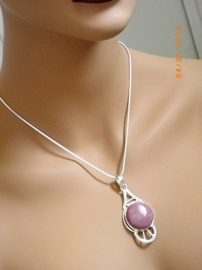 Other Jasper Gemstone Pendant 925 Silver Plated Over Solid Copper Sterling Silver Snake Chain, Mothers day gift