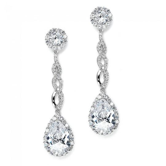 Silver/Rhodium Glamorus Crystal Statement Earrings