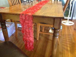 Red Rose Petal Table Runner Tablecloth