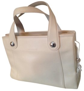 Longchamp Leather Long Champ Tote in White