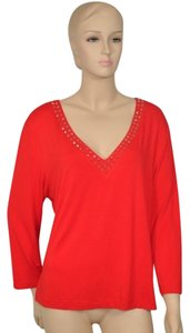 St. John Beaded Summer Swarovski T Shirt Coral