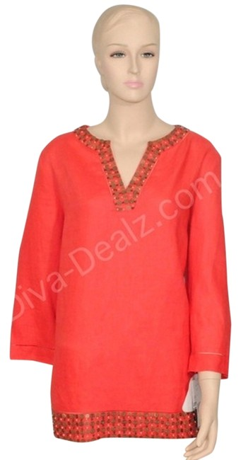 Preload https://item2.tradesy.com/images/lafayette-148-new-york-coral-linen-tunic-size-14-l-900976-0-0.jpg?width=400&height=650