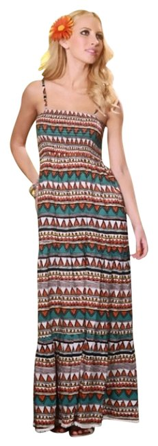 RUST MULTI PRINTED Maxi Dress by RUST MULTI PRINTED SMOCKED SPAGHETTI STRAP MAXI DRESS