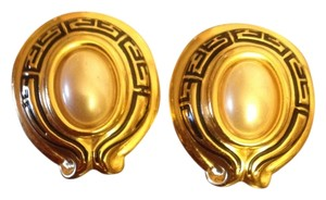 Fendi Fendi Gold Greek Key Clip On Earrings