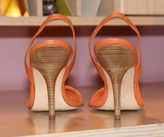 Report Signature High Heels Heels Slingback Orange Leather Sexy Apricot Pumps