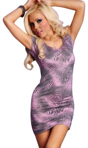 LILAC MULTI ANIMAL SCOOP NECK CROSS BACK STRAP RUCHED SEXY MINI DRESS short dress LILAC MULTI ANIMAL on Tradesy