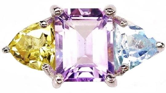 Other Beautiful Natural Amethyst, Citrine and Blue Topaz 925 Sterling Silver Ring