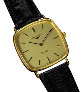 Longines Longines Mens Cushion Dress Watch - 18K Gold Plated & Stainless Steel