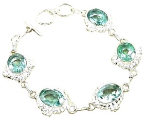 Other Gemstone Aqua Topaz Sterling Silver Chain Bracelet
