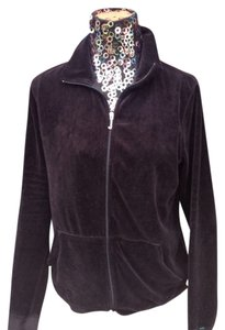 Juicy Couture JUICY COUTURE BLACK VELOUR ZIP FRONT JACKET SIZE L