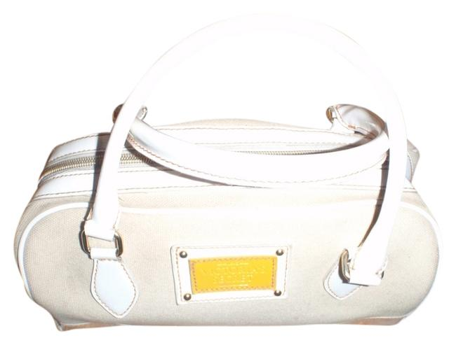 Item - Cream/Dirty White Canvas/ Faux Leather Satchel