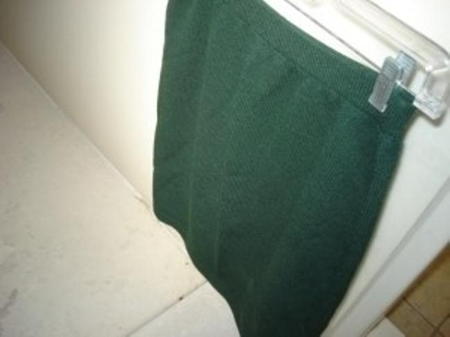 St. John Santana Knit Elastic Waist Marie Gray Skirt Hunter Green Dark