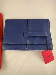 Valentino Dual Calf Leather Hand Flap Pochette Blue Clutch