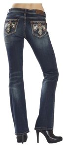 Grace in LA Aztec Denim Boot Cut Jeans-Medium Wash