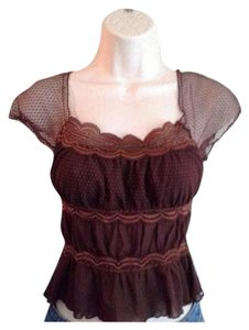 bebe Boho Hippie Chic Sheer Chiffon Top Brown