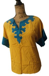 Oscar de la Renta Top yellow blue