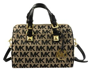 Michael Kors Grayson Handbag Monogram Satchel in Black/Beige