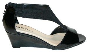 Ellen Tracy Patent Leather Comfort Wedge Black Sandals