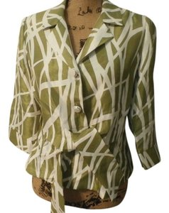 Other Perceptions WOMEN'S TOP BLOUSE SIZE 10P COLOR GREEN/WHITE 3/4 SLEEVE 100% POLYESTER