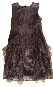 Burberry Prorsum Cocktail Lace Brown Cognac Sexy Sleeveless Knee Over Knee Mini Mini Dress