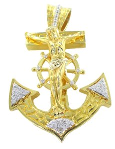 14K YELLOW SOLID GOLD 46 GENUINE DIAMONDS 0.70 CARAT ANCHOR CROSS JESUS CRUCIFIX