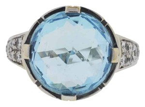 BVLGARI Bulgari Parentesi 18k White Gold Diamond and Blue Topaz Ring