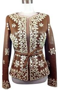 Valentino Made In Italy Leather Capiz Shells Couture Embellished Natural Brown Leather Jacket