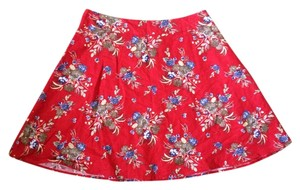 Forever 21 Floral Casual Skirt Red