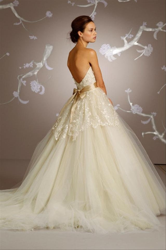Lazaro strapless ball gown in chantilly lace 32183147 for Best way to sell used wedding dress