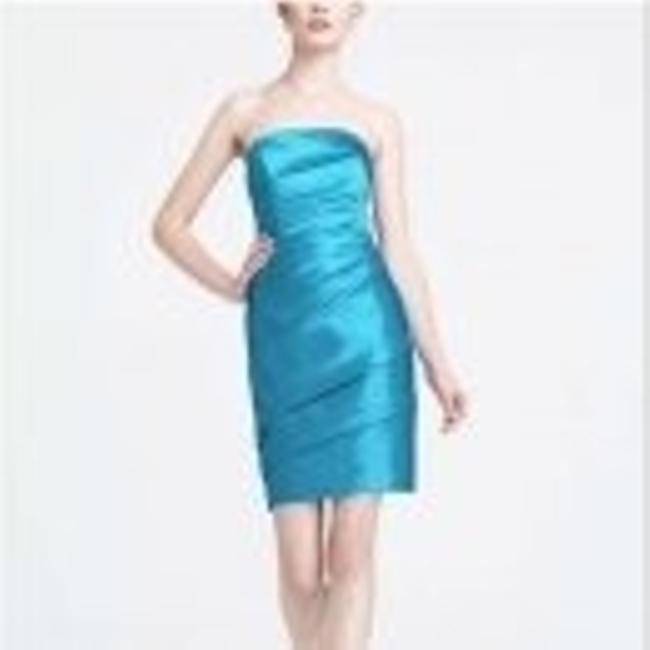 Item - Blue Satin Short Pleated Strapless # F1421 Formal Bridesmaid/Mob Dress Size 2 (XS)