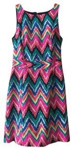 Lilly Pulitzer short dress Pink, Blue, and Yellow Chevron Sleeveless on Tradesy