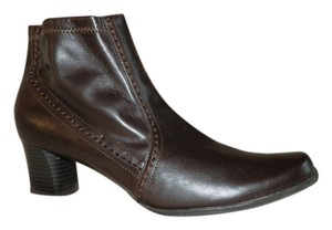 Etienne Aigner Faux Leather Chunky Ankle Brown Boots