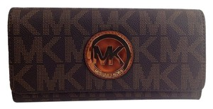 Michael Kors Signature Fulton Continental Wallet Checkbook Pvc Mk Logo Brown Clutch