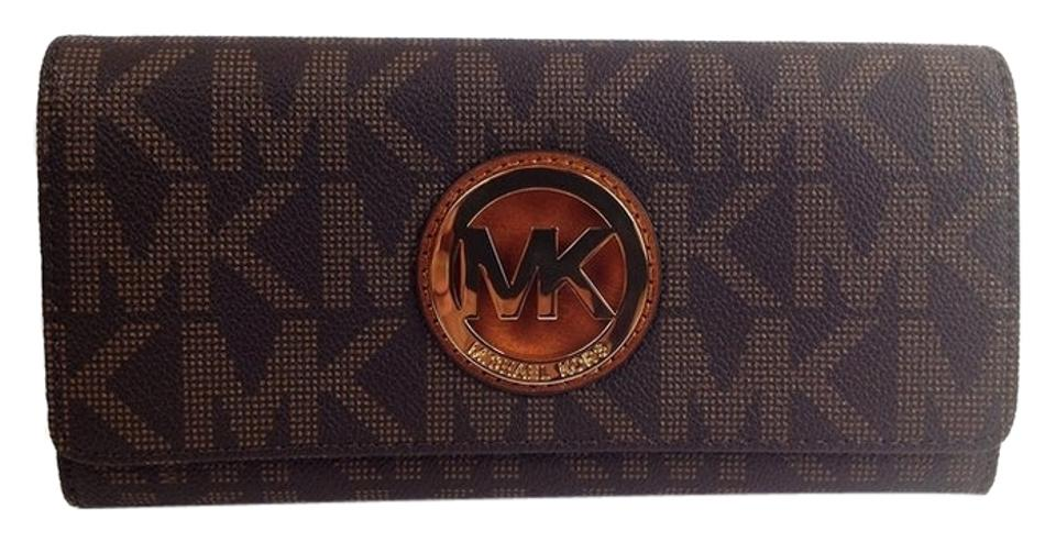 39a1215998d12c Michael Kors Signature Fulton Continental Wallet Brown Clutch Image 0 ...