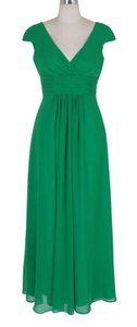Green Long Elegant Pleated Waist Mini Sleeves Dress
