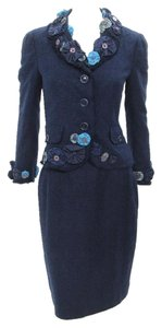 Moschino Moschino Cheap & Chic 2pc Navy Blue Silk Knit Jacket & Skirt Suit Size US 10, but it fits on size US 6
