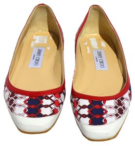 Jimmy Choo Red, White, Blue Flats