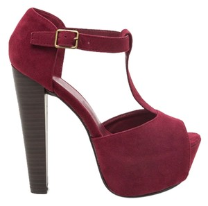 Breckelle's T-strap Suede Peep Toe Chunky Heel Faux Suede Ankle Strap Cut-outs WINE Platforms