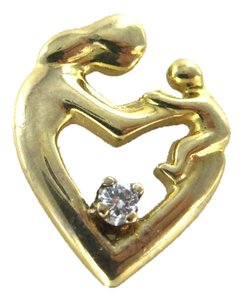 14KT KARAT YELLOW GOLD PENDANT 1 DIAMOND MOTHERS DAY GIFT CHILD CHARM 2.0 GRAMS