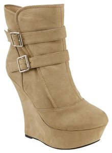 Red Circle Footwear High Wedge Platform Bootie Nude Wedges