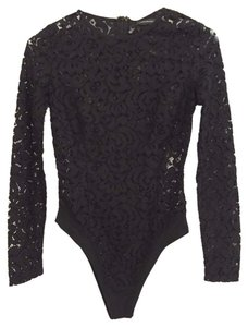 Misha Collection Lace Fitted Date Night Holiday Top Black