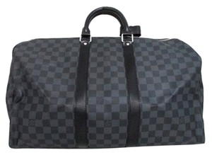 Louis Vuitton Keepall Bandoulie Black Damier Graphite Travel Keepall 45 Keepall Damier Black Handbag Travel Black Travel Cobalt Blue Travel Bag
