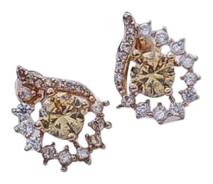 Eloise Tear Drop Halo Champagne central studded earrings