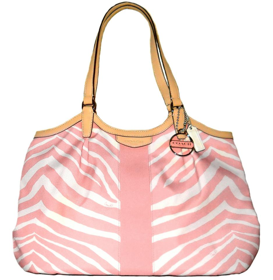 a09f14b7d3 Coach Devin Signature Stripe Zebra Print Handbag F24022 Pink Tan White  Canvas Shoulder Bag