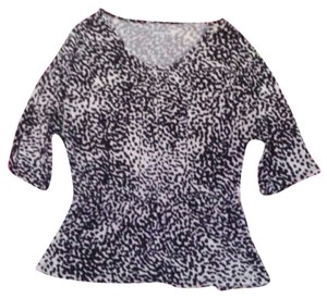 Merona Womens Leopard Peplum Shirt Medium Top Black & White