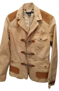 Ralph Lauren Boots Coat Vintage Buckskin Color Canvas and Leather Jacket