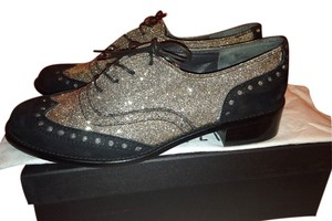 Stuart Weitzman Oxford Inspector Lace Metallic Made In Spain Lace Up black Flats