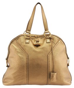 Saint Laurent Ysl Muse Leather Satchel in Gold