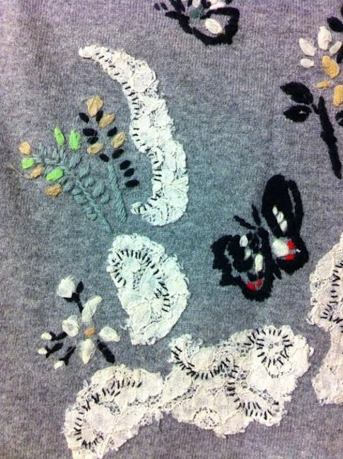 Karen Nicol for Anthroplogie Grandpa Sweater Boyfriend Sweater Applique Flowers Lace Cardigan